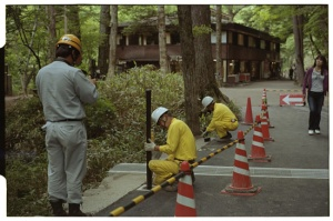 Leica M3, 50mm f2 Summicron, Kodak 160NC, Workers repairing infrastructure in the vicinity of Yutaki Waterfall