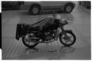 Mr Yu's motorcycle after the rain soaked trip (Leica M6 + 50mm f2 Summicron + Kodak Tri-X)
