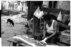 Likeng Pork Seller (Leica M6 + 50mm f2 Summicron + Fuji Neopan 1600)