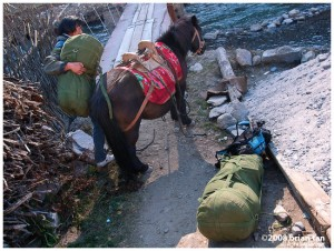 Strapping the horse up with supplies for the 3 day trek