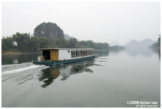 One of the commercial cruise boats on Li River