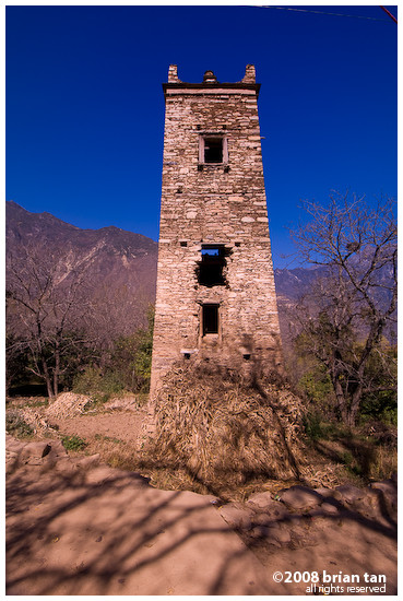 Ancient watch tower up close, Zhonglu village