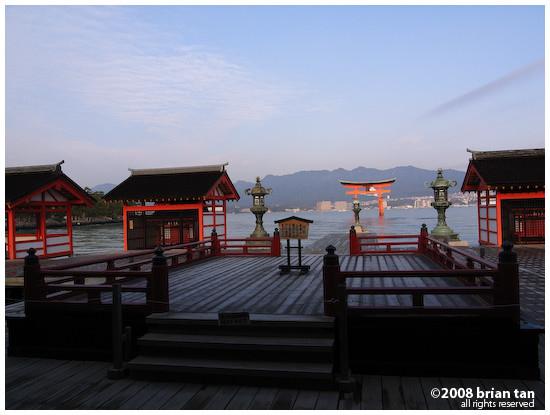 View of Floating Torii on Miyajima from Itsukushima Shrine