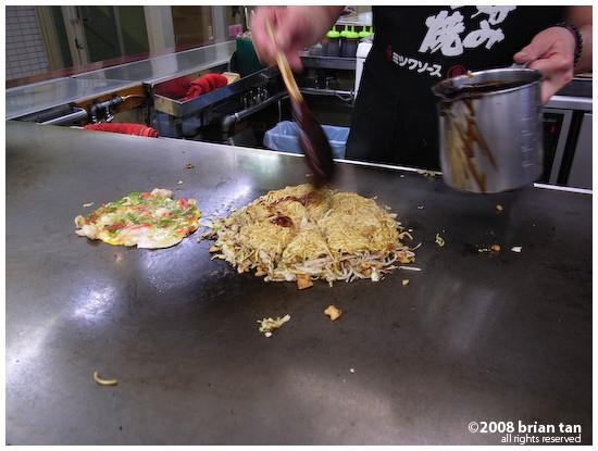 Okonomiyaki at Okonomi-mura, Hiroshima