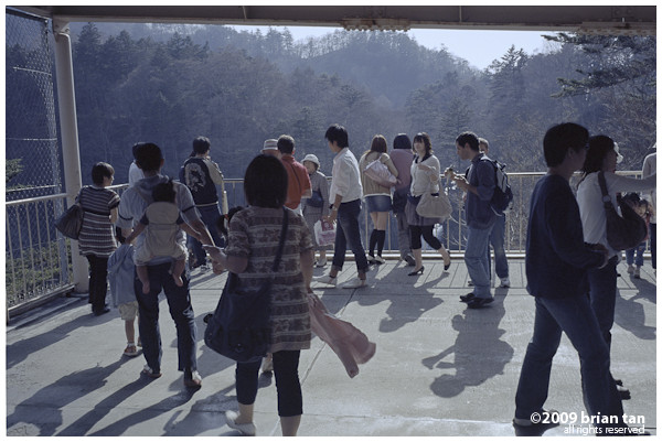 Tourists at Chuzenji Waterfall viewing station