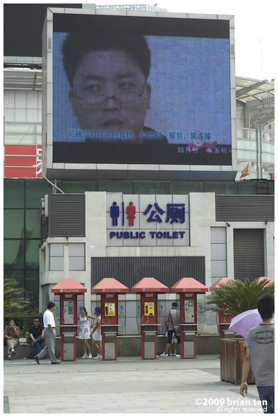 How appropriate, a mega video screen, public toilet and phone booth in a compact space.