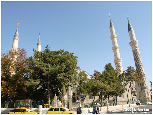 The four distinct minarets of Uc Serefeli Mosque
