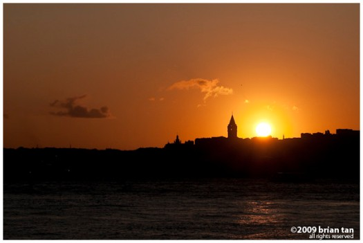 Sun setting over the Galata Tower
