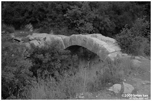 Rock bridge spanning the tunnel