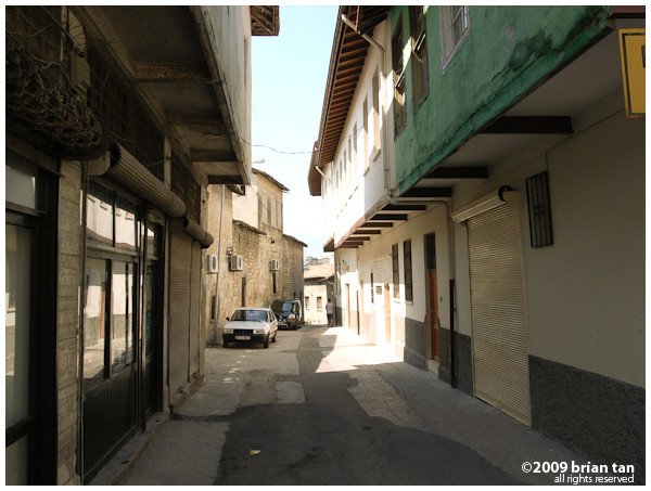Backlanes of old Antakya with the distinctive overhang on the houses