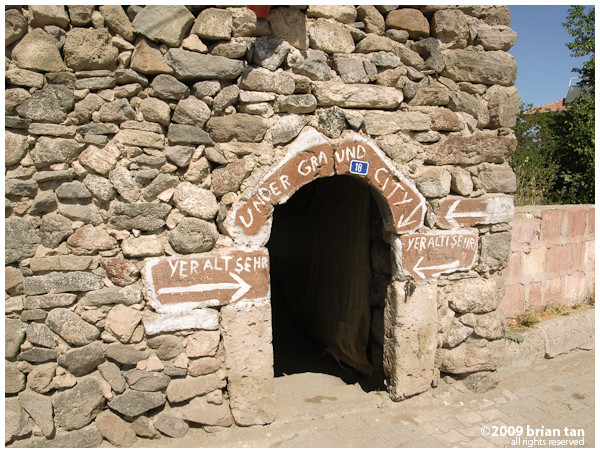 Entrance to the underground city. It is quite well marked. Making sure you don't miss it!
