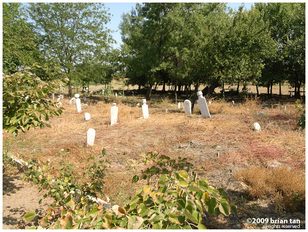 Simple graves along the roadside