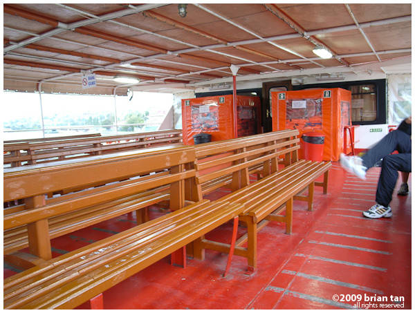 One colour shot of the golden horn ferry interior... Obviously this is the open air part of the deck