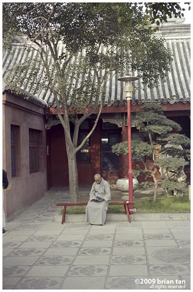 Xianggou Monastery: Reading monk