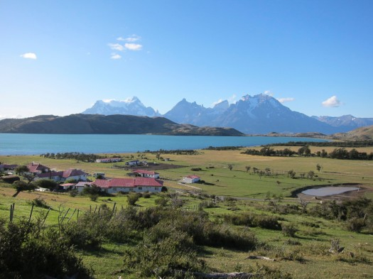 Estancia Lazo with Torres del Paine peaks in the background behind Laguna Verde. This was taken during a photographic survey, looking for the best vantage point for that evening and the next morning.