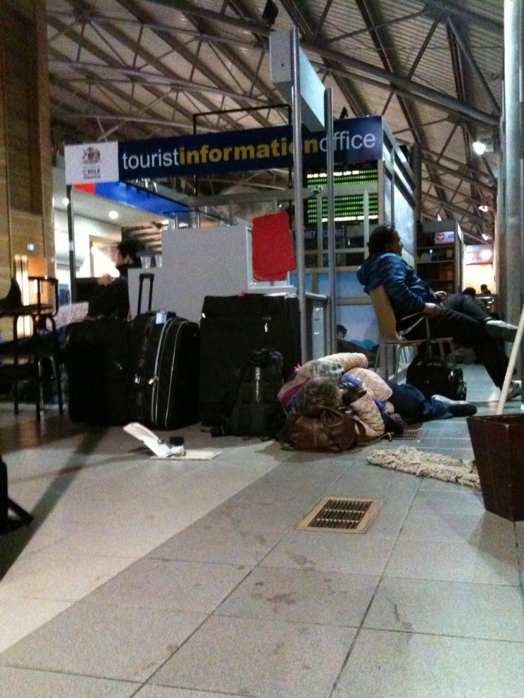 This is the only photo I took at Punta Arenas airport that night when we spent the night sleeping on the floor. This was when I was scouting for a place to sleep. I didn't really sleep here eventually. I went back to the corner and decided to sleep behind the US Embassy counter.