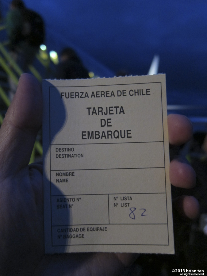 I didn't get to keep the flight ticket, but took a photo of it instead. Not everyday I get a boarding pass issued by the Chilean Air Force