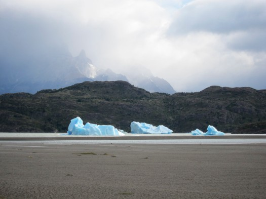 Icebergs of Lago Grey. Note the incoming storm.