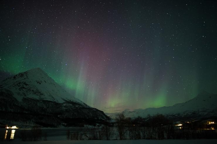 Hints of Aurora Borealis in Laksvatn to the east of Tromsø, Norway.