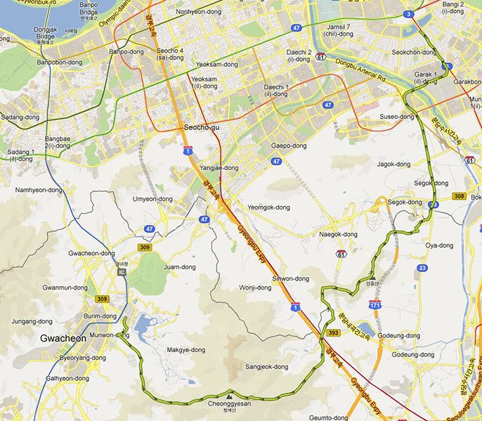 Map of the entire trip plotted on a map from Google.