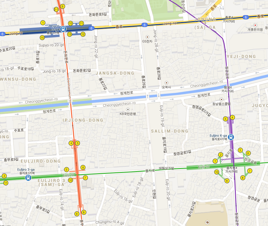 The area in question is between Euljiro-4 and Euljiro-3 Metro station and south of the small stream on the map